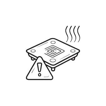 3d-drucker beheiztes bett warnung hand gezeichnete umriss-doodle-symbol. 3d-drucker-warnkonzept für die temperatur der bettplatte