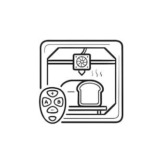 3d-drucker, der brot und hand gezeichnetes umriss-doodle-symbol mit fernbedienung macht. konzept der 3d-drucktechnologie