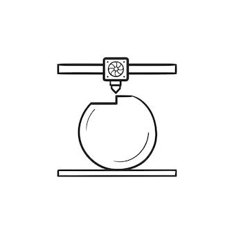 3d-drucker druckt das handgezeichnete umriss-doodle-symbol des balls. additive fertigung, druckprozesskonzept. vektorskizzenillustration für print, web, mobile und infografiken auf weißem hintergrund.