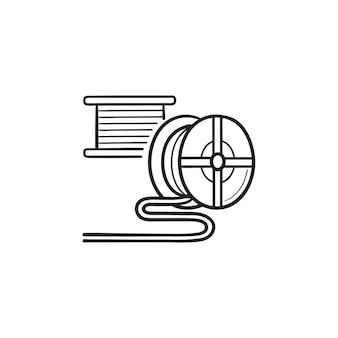 3d-drucker-filamentspule handgezeichnete umriss-doodle-symbol. material für 3d-drucker, konzept der additiven technologie