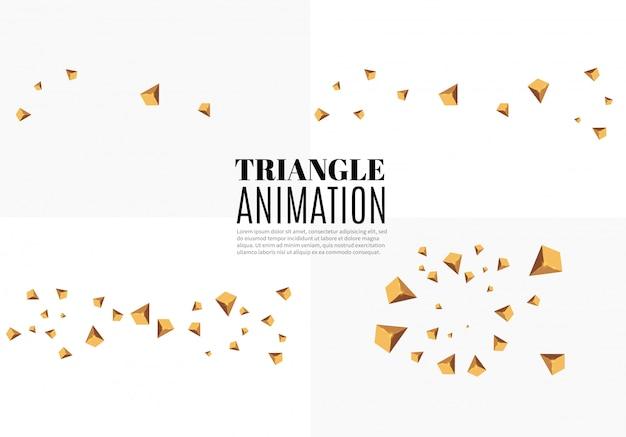 3d-effekt. bewegung von fliegenden dreiecken. animation