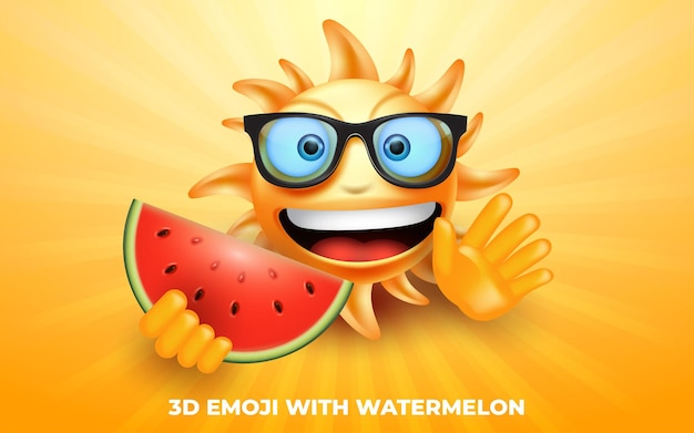 3d-emoji-sonne-cartoon-figur mit wassermelone