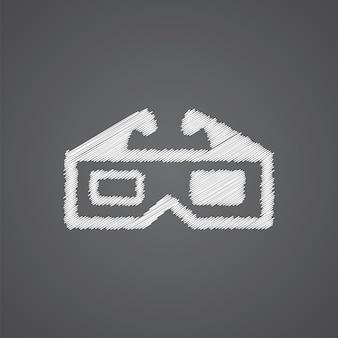 3d-film-skizze-logo-doodle-symbol auf dunklem hintergrund isoliert