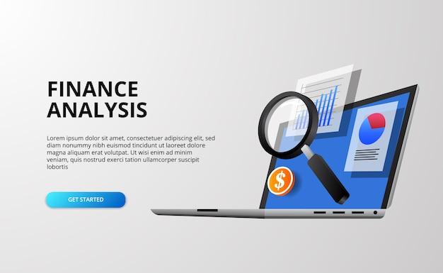 3d-finanzanalysekonzept mit 3d-laptop mit datentabelle mit lupe
