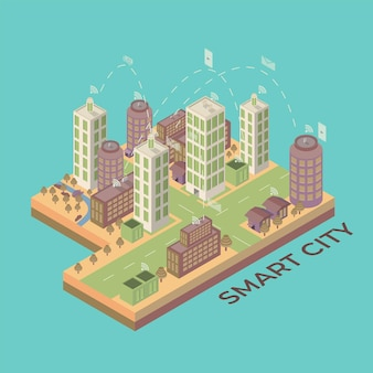 3d flache isometrische smart city