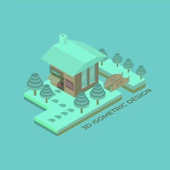 3d flaches isometrisches schneehaus