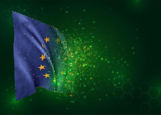 3d-flagge auf grünem hintergrund mit polygonen, europäische union