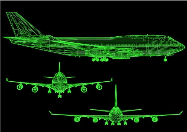 3d flugzeug mit grünen linien