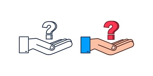 3d-fragezeichen in den händen für konzeptdesign-technologie-vektorillustration