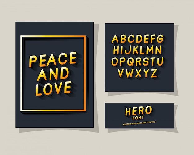 3d-frieden und liebesbeschriftung und alphabet auf grauem hintergrund