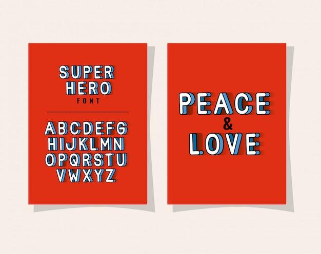 3d-frieden und liebesbeschriftung und alphabet auf rotem hintergrund