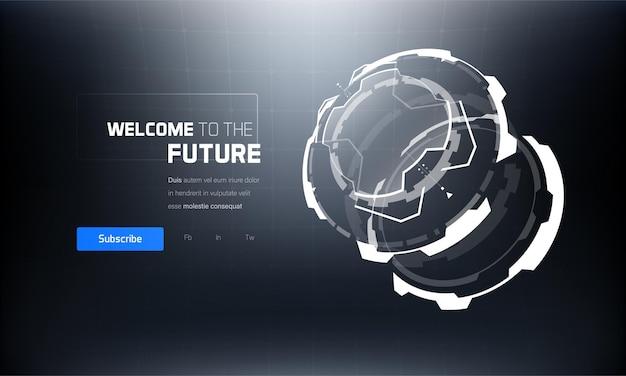 3d futuristic technology hud interface elements set.