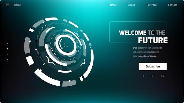 3d futuristische technologie minimalistische website-vorlage landing page big data virtuelle realität künstliche intelligenz hologramm bildschirm science-fiction-sicherheitssystem