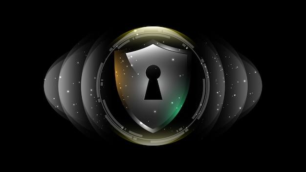 3d-geschütztes schutzschild-sicherheitskonzept sicherheit cyber digital abstrakte technologie hintergrund schützen systeminnovationskonzept illustration