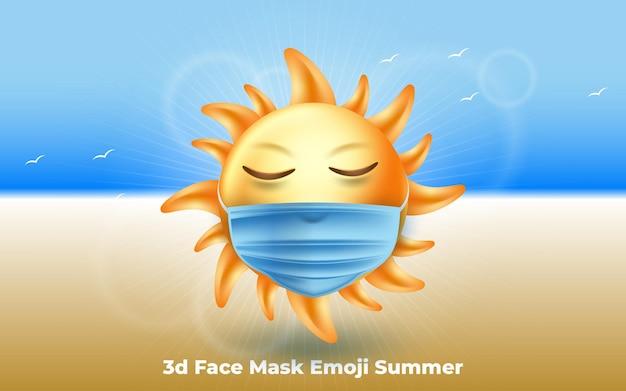 3d-gesichtsmaske emoji sommersonne illustration