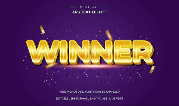 3d-gewinner bearbeitbarer textstileffekt