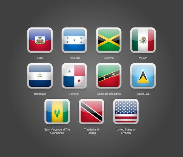 3d glänzende quadratische runde symbole für flaggen der nordamerikanischen länder