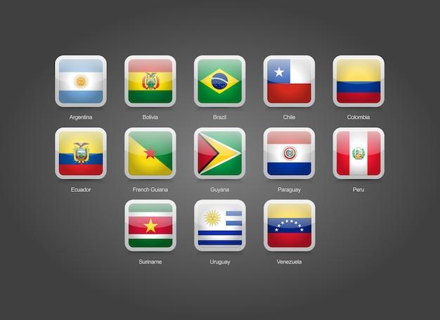 3d glänzende quadratische runde symbole für flaggen der südamerikanischen länder