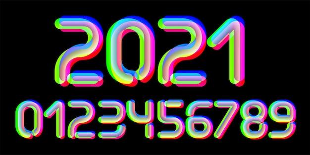 3d-glitch-effekt-schriftart. zahlen von 0 bis 9. trendiges 2021-schriftdesign. für musikveranstaltungen, banner, flyer, cover-design.