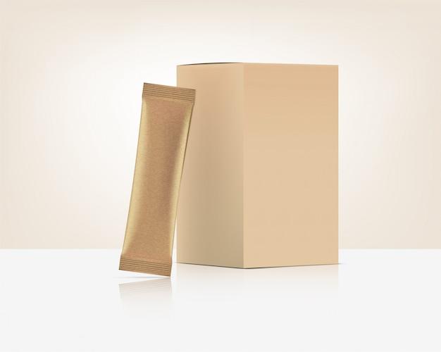3d glossy stick beutel vorne und hinten mit papierbox modell isoliert. illustration. konzeptdesign für lebensmittel- und getränkeverpackungen.