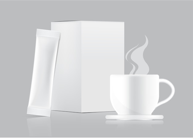 3d glossy stick sachet modell und tasse mit papierbox isoliert.