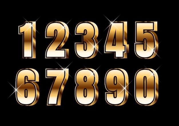 3d gold strong metallic number set