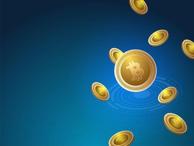3d goldene bitcoins, die auf blauem futuristischem hintergrund fliegen