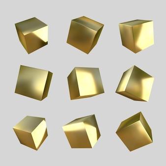 3d goldene würfel
