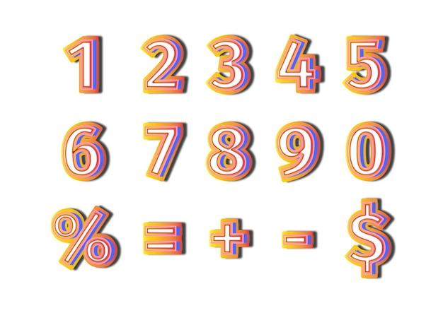 3d gradient glow up numbers set