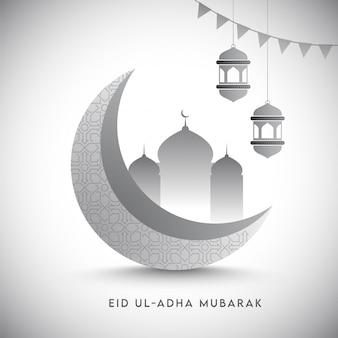 3d grauer halbmond mit moschee, hängenden laternen und flaggenflaggen auf glänzendem weißem hintergrund für eid ul-adha mubarak.