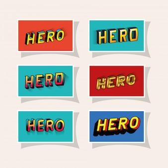 3d heldenbeschriftung gesetzt auf rotem und blauem hintergrund Premium Vektoren