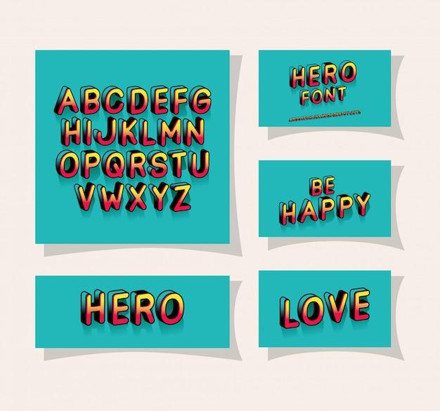 3d-heldenschriftschrift und alphabet auf blauem hintergrund