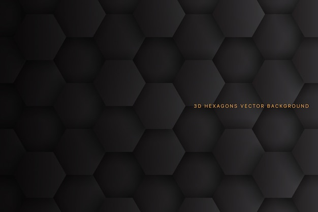 3d hexagons dark grey abstract background