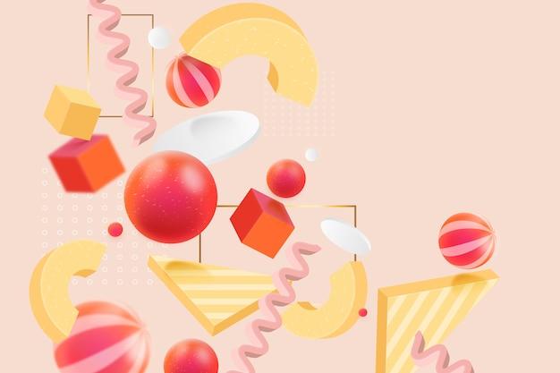 3d-hintergrund mit geometrischen formen