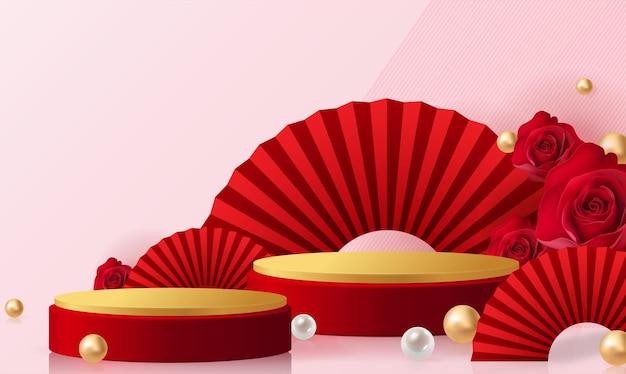 3d-hintergrundprodukte für valentinstag-podium im roten rosenhintergrundvektor 3d mit zylinder. podiumsstand, um kosmetisches produkt mit handwerklichem stil im hintergrund zu zeigen.