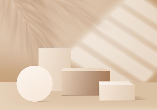 3d-hintergrundprodukte zeigen eine podiumsszene mit palmblatt und heller sonne an. hintergrundvektor 3d-render mit podium. stand, um kosmetisches produkt zu zeigen. bühnenvitrine auf podestdisplay beige studio