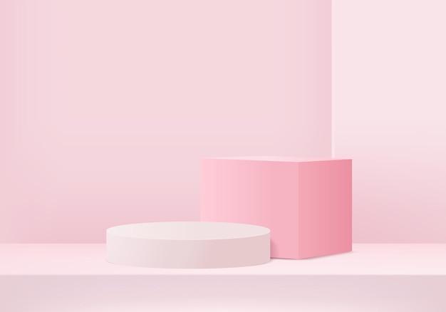 3d-hintergrundprodukte zeigen podiumsszene mit geometrischer plattform an. 3d-rendering des hintergrundes mit podium. bühnenvitrine auf podestdisplay rosa studio