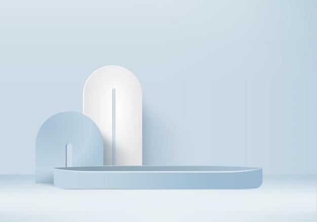3d-hintergrundprodukte zeigen podiumsszene mit geometrischer plattform an. 3d-rendering des hintergrundes mit podium. bühnenvitrine auf sockeldisplay blaues studio