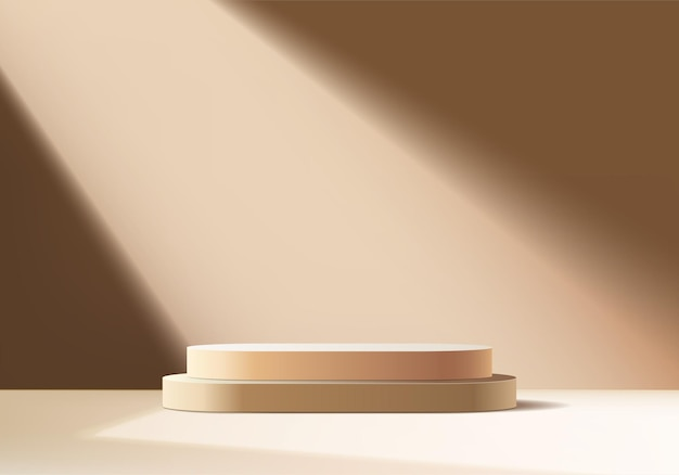3d-hintergrundprodukte zeigen podiumsszene mit geometrischer plattform an. hintergrundvektor 3d-rendering mit podium. stand, um kosmetische produkte zu zeigen. bühnenvitrine auf podestdisplay beige studio