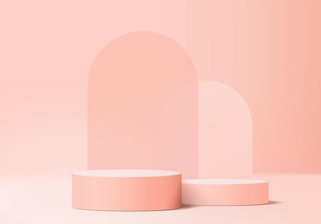3d-hintergrundprodukte zeigen podiumsszene mit geometrischer plattform an. hintergrundvektor 3d-rendering mit podium. stand, um kosmetische produkte zu zeigen. bühnenvitrine auf podestdisplay rosa studio