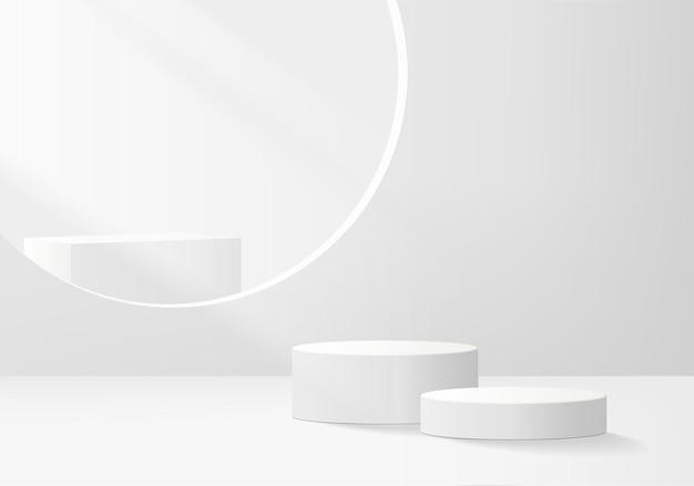 3d-hintergrundprodukte zeigen podiumsszene mit geometrischer plattform an. hintergrundvektor 3d-rendering mit podium. stand, um kosmetische produkte zu zeigen. bühnenvitrine auf sockeldisplay weißes studio