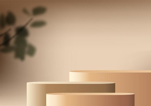 3d-hintergrundprodukte zeigen podiumsszene mit geometrischer plattform des palmblattes an. hintergrundvektor 3d-render mit podium. stand, um kosmetische produkte zu zeigen. bühnenvitrine auf podestdisplay biege studio