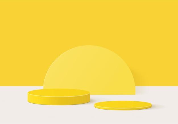 3d-hintergrundprodukte zeigen podiumszene mit geometrischer plattform an. bühnenvitrine auf gelbem studio mit sockeldisplay