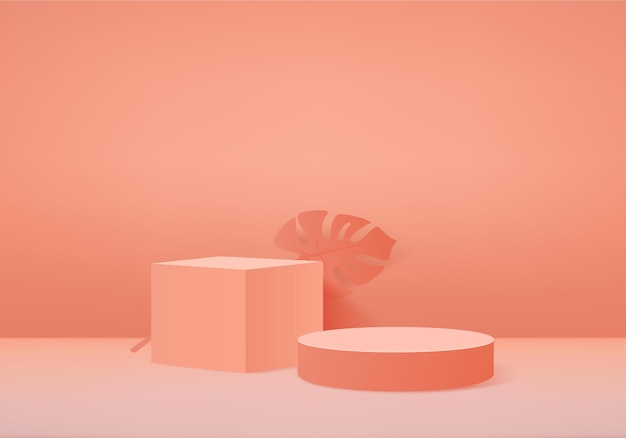 3d-hintergrundprodukte zeigen podiumszene mit geometrischer plattform an. bühnenvitrine auf orangefarbenem studio mit sockeldisplay