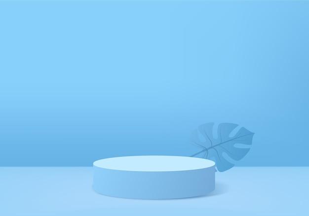 3d-hintergrundprodukte zeigen podiumszene mit geometrischer plattform des grünen blattes an.