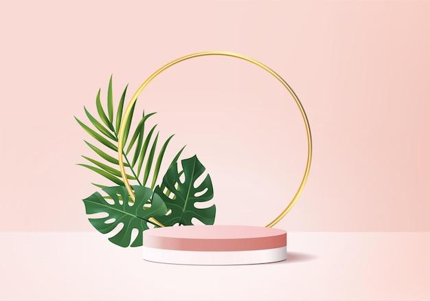 3d-hintergrundprodukte zeigen podiumszene mit geometrischer plattform des grünen blattes an
