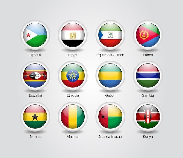 3d-icons glänzend set für afrikanische länderflaggen
