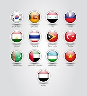 3d-icons glänzendes set für asiatische länderflaggen
