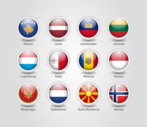 3d icons glänzendes set für europa länderflaggen