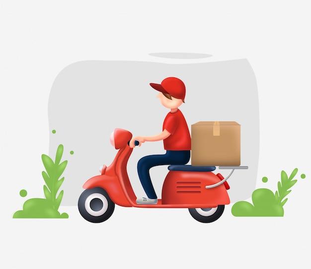 3d-illustration des online-lieferservicekonzepts, zuhause und büro.